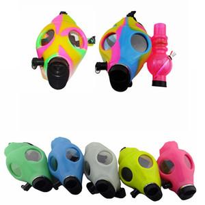 Nueva máscara de gas bongs resplandor colorido silicona agua bong shisha acrílico fumar pipa de silicona máscara tubos de tabaco DDA823