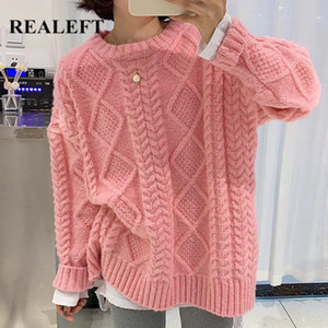 REALEFT 2020 New Autumn Sweater Rosa do inverno elegante estilo coreano Oversized de Mulheres pulôver Rodada Neck Knit Sweaters SSW141