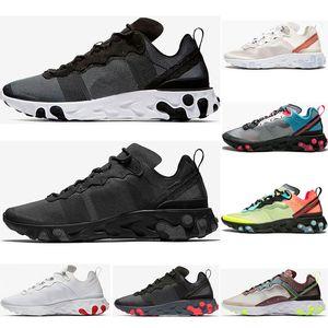 2021 Reaktionselement 87 55 Athetische Schuhe für Männer Womens White Black Solar Red Volt Racer Pink Herren Trainer Sport Sneakers Größe 36-45 C01