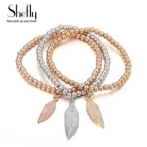 Charm Bracelets Rhinestones Leaf Clovers For Women Elastic Zinc Alloy Rose Gold Silver Color Female Bead Chain Bracelet SL05806