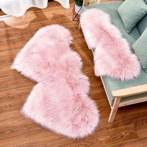 Love Plush Carpet Imitation Wool Velvet Double Love Heart Shaped Carpet Mat Sofa Cushion Pad OWD3010