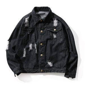 Ripped Jean Jacket Mens Street Wear Patches Men Denim Jackets Hip Hop Erkek Mont Patchwork Punk Rock Men Coat Big Size 5J010