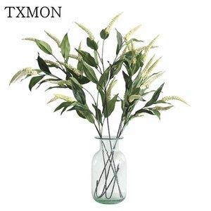 Txmon Simulación fresca verde Thorn Thorn Grass Fake Bouquet Ventana Piezas de visualización interior Casa Sala de estar Decoración Flor de seda