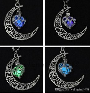 Magic Moon Heart Anhänger Halskette Glühen in der dunklen Halskette Vintage Steampunk Hohl Liebe Leuchtende Halskette
