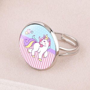 Fashion Cute Cartoon Unicorn Ring for girls child Women Adjustable Alloy Crystal Finger Ring Jewelry Gift For Girl Wholesale