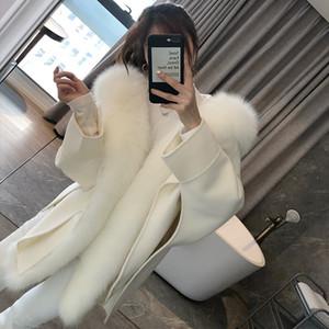 OFTBUY Casual Winter Jacket Women Natural Real Fox Fur Collar Cashmere Wool Blends Outerwear Coat Streetwear Loose Cloak 201102
