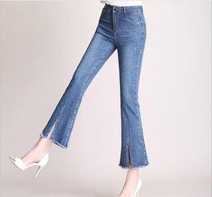Wywan Anne Bel Kadınlar Yüksek Elastik Artı boyutu Stretch Denim Skinny Jeans Kadın Kalem Pantolon Yıkanmış