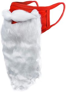 Holiday Santa Beard Face Mask Costume for Adults for Christmas (One Size fits All) Red HWE3150