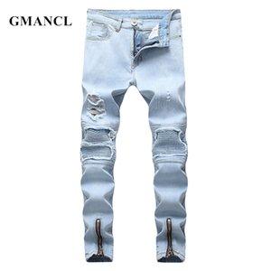 Gmancl Streetwear Estilo Hip Hop Destorabilidade Motociclista Rasgado Skinny Casual Homens Plissados Calças Calças Calças C1123