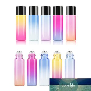 10ml Glass Empty Cosmetic Containers Gradient Color Essential Oil Stainless Steel Roller Ball Bottle Travel Perfume Bottle