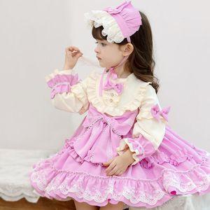 Little Girls Long Sleeve Vintage Lolita Princess Dress Baby Girl New Year Party Christmas Vestidos Infant Spanish Dresses