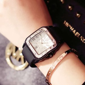 Guou Guou Watch Ocio para hombre Pareja impermeable Ver Reloj Mesa de regalo Silicone Square Square