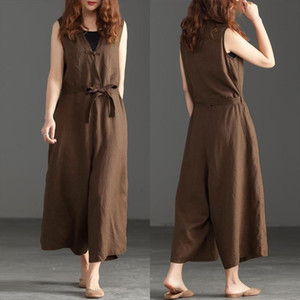Womens Summer Jumpsuits 2020 ZANZEA Kaftan Linen Overall Casual Solid Tank Rompers Female V Neck Playsuits Pants Oversized 5XL