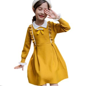 Autumn Warm Kids Baby Girls Sweater Dress Princess Ruffle Solid Children Sweater Clothes Toddler Long Sleeve Party Costume 4-13Y Z1127