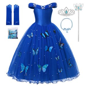 Cendrillon Princess Girls Dress Fairy Tales Deluxe Cosplay Costume Cenderella Blue Gown Kids Party Halloween Birthday Clothes F1202