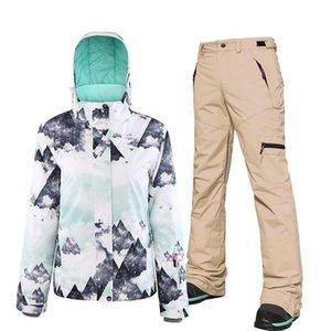 النساء سترة تزلج بدلة تزلج للماء يندبروف نمط الطباعة الدفء معطف الثلج و snowboarding السراويل مجموعة الإناث سترة التزلج