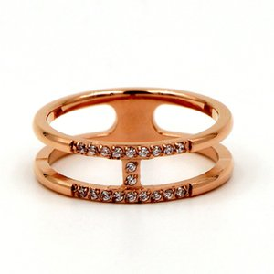 Fashion h Letter Cnc Micro Diamond Rose Gold Tail Ring Hipster Titanium Steel Couple Rings