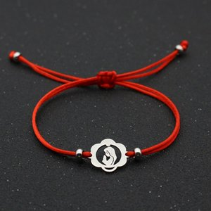 Braided Adjustable Virgin Mary Charm Bracelets for Women Men Kids Couple Silver Color Stainless Steel Lucky Red String Bracelet Jewelry Gift