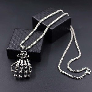 Choker Fashion 2021 Mens Vintage Punk Gothic Skull Hand Pendant Long Chain Necklaces