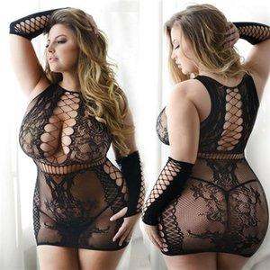 Talla grande Sexy Lingerie Erotic BabyDoll Underwear Online Lace Negro Nightdress Disfraces de gran tamaño Vestido de ropa de dormir Q1127
