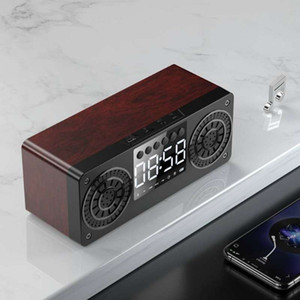 hot Bluetooth Wireless Speaker Portable Wooden Alarm Clock Bluetooth5.0 Bass Speakers with U Disk TF Card FM Time Display