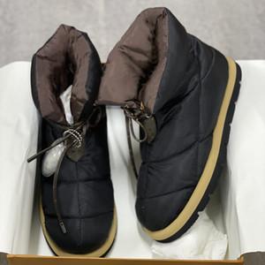 럭셔리 베개 다운 신발 여성 플랫 발목 부츠 소프트 경량 하단 겨울 레이스 업 스노우 부츠 최상의 품질 265