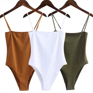 New Fashion Women Bodysuits Sexy Jumpsuit Off Shoulder Backless Spaghetti Strap Bodysuit Ladies Black Casual Cotton Bodysuits 2