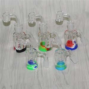 Glass Reclaim Catcher Adapter + silicone jar 14mm 18mm Male Female 45 90 With Reclaimer Ash Catcher Adapter For Glass Water Bongs Dab Rigs