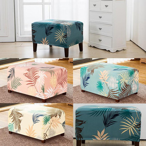 Floral Printing Elastic Spandex Ottoman Sofa Stool Cover Home Furniture Case Room Office Dust-proof Footstool Footrest Covers