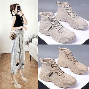 help large base canvas shoes female summer new joker movement boots, leisure shoes ins web celebrity short boots1