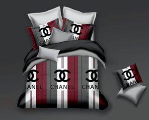 Diseño geométrico Conjunto de ropa de cama minimalista de cuatro aloe vera algodón fibra química letra cómoda impresión de cuatro piezas juego de ropa de cama