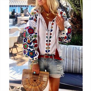 Free Shipping New Fashion Women Lantern Sleeve Floral Embroidery Turn down Collar Loose Shirt Elegant Casual Shirt 2020 Hot Sale