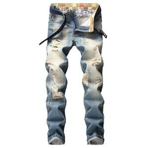Homens na moda calças slim jeans jeans denim longo arruinado novo quadril hip hop marca buraco jeans implorando retro velhos dropship