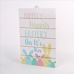 Easter Bunny Desen Asılı Kurulu Nordic Ev Ahşap El Sanatları Asılı Kurulu Paskalya El Sanatları Parti Duvar Kapı Dekorasyon DHC5747