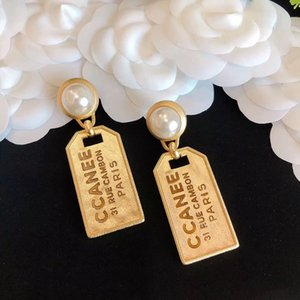 Have stamps Fashion brand designer classic earrings for lady Women Party Wedding Lovers gift engagement luxury jewelry for Bride With BOX