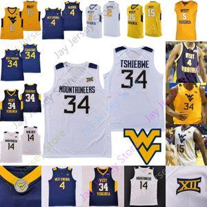 Batı Virginia WVU Basketbol Jersey NCAA Koleji Derek Culver Emmitt Matthews Jr. Miles McBride Tshiebwe Taj Thweatt Isaiah Cottrell McCabe