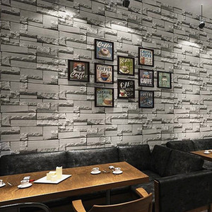 3D retro industrial style imitation brick pattern washable pvc wallpaper restaurant bar light grey brick wall paper