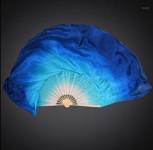 Factory Wholesale Women Belly Dance Silk Fan Veils 1 Pair Short Bamboo Fan 41cm-86cm Customized Color White Blue Royal Blue1