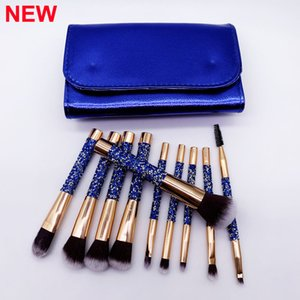 Makeup Brushes Blue Diamond brush 10pcs Set with Bag Makeup Brush Foundation Powder Eye shadow Blush brushes Mascara Cosmetic brush kit