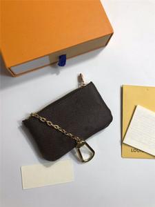 Key Bag Mode Herren und Frauen Schlüsselanhänger Kreditkartenclip Clip Münze Geldbörse Luxus Mini Geldbörse Charme Braun Blume Brief Münzbeutel Kostenlos
