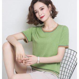 Summer Short Sleeve O Neck Knitted Shirt Fashion Short Sleeve Female Knitting Pull Jumper Ladies Thin Tops Femme Pullover