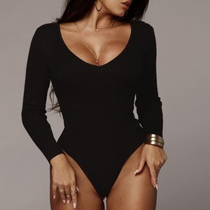 Fashion Sexy Women Long Sleeve Bodysuit Solid Off Shoulder Bodycon Slim Fit Stretchy Jumpsuit Romper Skinny Bodysuits