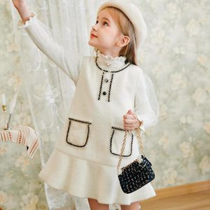 2 Piece Winter Spring Sweaters Dresses Set For Girls Puff Sleeve Pullovers Gowns Suit Kids Children Wedding Party Dress Clothing J1204