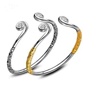 925 silver Charm Handmade Monkey King Open Adjustable Bangles Antique 925 Silver Bracelets Bangles
