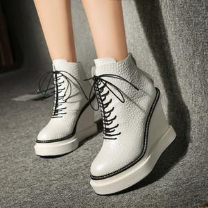 20201116 Wedge heel 12cm white women's thick sole platform super high heel Martin boots