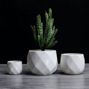 Creative Ceramic Diamond Geometric Flowerpot Simple Succulent Plant Container Green Planters Small Bonsai Pots Home Decoration