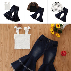 Kid Tank Top Pants Tassels Bow Dot Elastic 2pcs Sets Clothing Summer Girl Flared Jeans Fashion Children 35 88ym G2