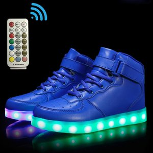 Size 25-37 Girls Sneakers with Luminous Sole Children Backlight Hook Loop Led Light Shoes Boy RF Control Non-slip Glowing Shoes Z1127