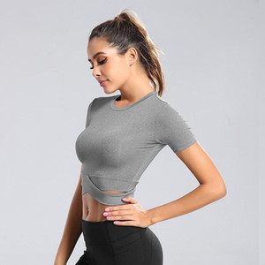Stock Designed New Women Girls Yoga T-Shirt Black White Grey Sports Gym Wears Outdoor Running Sports Top Fitness Workout