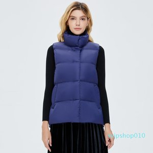 New Solid Down Coats Regular Style Zipper Puffy Stand-Up Collar Sleeveless Simple Wide-Waisted Fashion Women Jackets Winter 2020